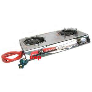 PORTABLE PROPANE GAS STOVE DOUBLE BURNER T GATE CAMPING