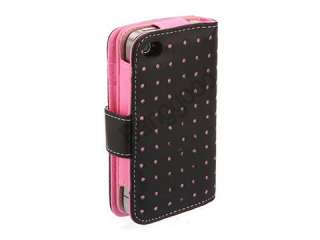 Pink Flip Leather Case Cover Pouch With Card Holder Wallet For iPhone
