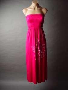 Bold Jewel Embellished Fleur De Lis Soft Knit Tube Long Maxi Dress XS