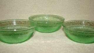 Vintage Green Depression Glass Berry Fruit Dessert Bowls Ribbed