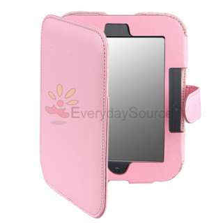 For Nook 2nd Edition Simple Touch Pink Folio Case+Screen Protector