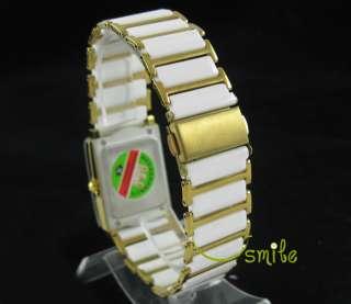 Fashion White & Golden Ceramic Steel Wrist Watch Ladys
