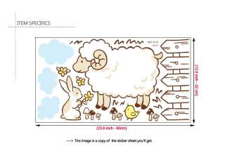 LAMB & Rabbit Nursery Decor Wall Decal Sticker Vinyl