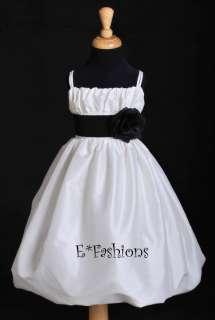 IVORY BLACK TAFFETA BRIDAL FLOWER GIRL DRESS 2 4 6 8 10