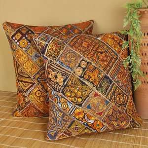 Maharaja Embroidered Floor Cushion Pillow Cover (Set of
