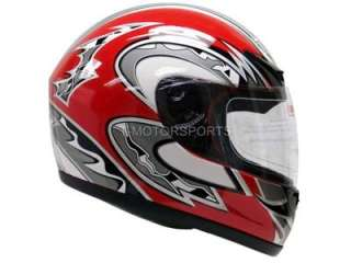 FULL FACE MOTORCYCLE STREET HELMET SPORT BIKE RED RACING FLAG DOT ~S
