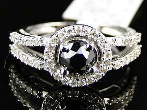 WOMENS WHITE GOLD BLACK DIAMOND ROUND CUT SOLITAIRE ENGAGEMENT RING