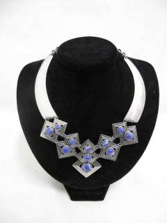 Lia Sophia Blue Lapis Resin in Matte Silver 16 19 Diamond Collar