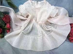 VINTAGE 1940 50s BABY toddler DOLL dress PINK Batiste ORGANZA lace