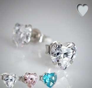925 Sterling Silver Earrings Studs Heart 4mm CZ
