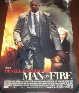 Denzel Washington + Fanning SIGNED Man on Fire poster