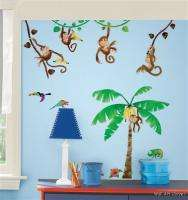 Nursery/Kids Room Wall Sticker Decals   Jungle Monkey Business