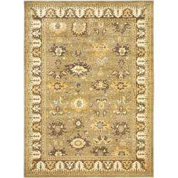 Oushak Green/ Brown Powerloomed Rug (8 x 11)  Overstock