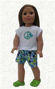 Doll Clothes Dots & Peace Shorts Set Fit American Girl