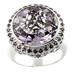 Sterling Silver Amethyst, Pink Sapphire, Rhodolite and Diamond Ring