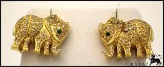 18k Yellow Gold, Diamond and Emerald Elephant Earrings