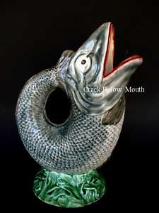 Antique Majolica Fish Art Pottery Damaged 12