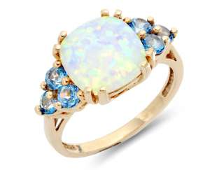 Ct Natural Cushion Cut Opal and Blue Topaz Ring 10k Yellow Gold