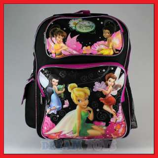 Disney Tinkerbell 16 Large Black Rolling Backpack