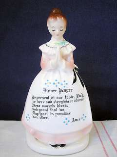 Vintage Enesco Ceramic Dinner Prayer Lady Napkin Holder