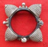ANTIQUE ETHNIC TRIBAL OLD SILVER BAKELITE BRACELET IND