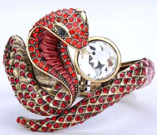 Red swarovski crystal cobra snake bangle bracelet 6