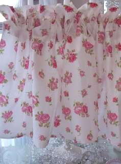 SHABBY BEACH COTTAGE CHIC PINK ROSES VALANCE CURTAIN