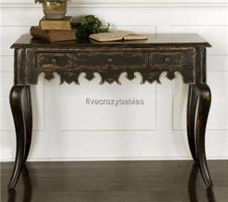 Designer Carved Wood Black Console Sofa Hall Table Asian Oriental