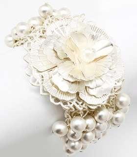Bridal Wedding Jewelry Pearl Matte Flower Bracelet