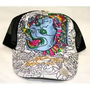 ED HARDY BLUE DRAGON RHINESTONE HAT