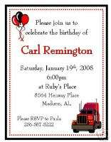 12 Big Rig 18  Wheeler Birthday Invitations~Style 2