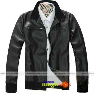 Fit Faux Leather Short Coat Motorcycle Jacket Black MCOAT063
