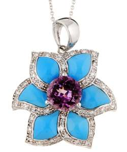 Encore by Le Vian 14k Gold Turquoise and Amethyst Flower Necklace