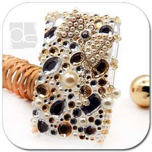 Bling Gold Crystal Gems Hard Skin Back Case For Blackberry Curve 8520