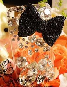 Black Crystal Bow with Jewels iPhone case For 3G/3GS/4/4S