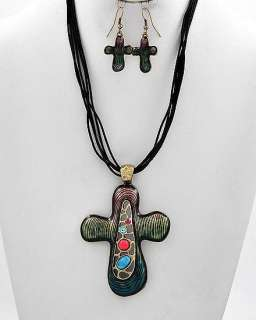 BRASS MULTI COLOR CRYSTAL CROSS NECKLACE EARRING