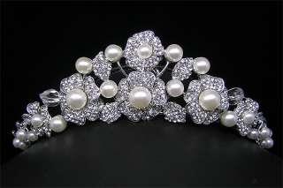 Wedding/Bridal crystal veil tiara crown headband CR209
