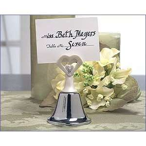 White Finish Open Heart Wedding Bell/Place Card Holder