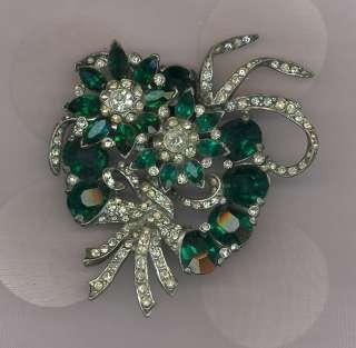 Vintage Emerald Green & Clear Rhinestones Pin / Brooch