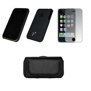 Apple Iphone 3G / 3GS Premium Black Leather Carrying Case