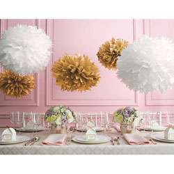 Martha Stewart Celebrate Decor Gold White Paper Pom Poms (Pack of 5