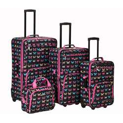 Rockland Butterfly 4 piece Expandable Luggage Set