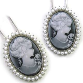 Light Grey White Pearl Lady Cameo Pendant Necklace n751