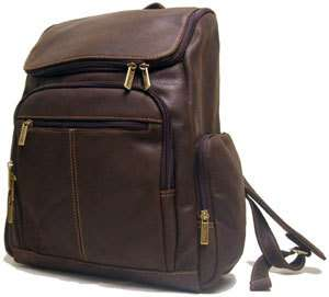 Le Donne Distressed Leather Computer Laptop Backpack Handbag Chocolate