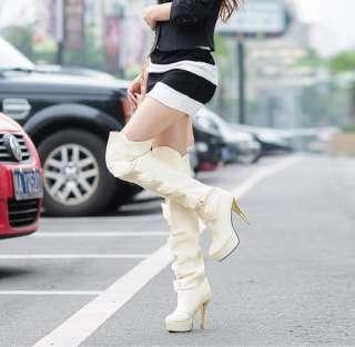 Black Beige White Over Knee High Heels Platform Boots US Size 4 5 6 7