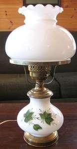 Vtg. Hurricane Mid Century Milk White Green Ivy Glass & Brass Finish