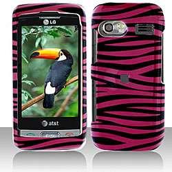 Snap on LG VU PLUS GR700 Black/ Pink Zebra Case