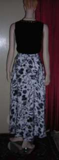 Dana Buchman Navy Blue & White Silk Long Skirt 2 NWT