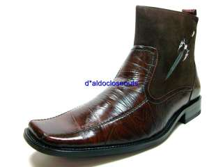 Mens Brown Italian Style D ALDO Ankle High Boots Shoes