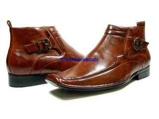 Mens Brown D ALDO Buckle Design Ankle High Boots Shoes